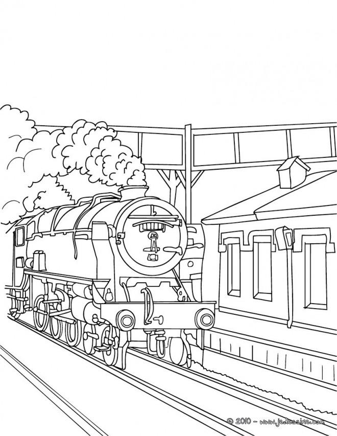 Coloriage et dessins gratuits Locomotive arrive en gare à imprimer