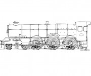 Coloriage Locomotive de train ancienne
