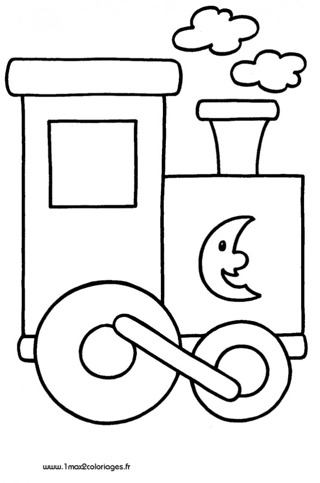 Coloriage et dessins gratuits Locomotive décorée avec croissant à imprimer