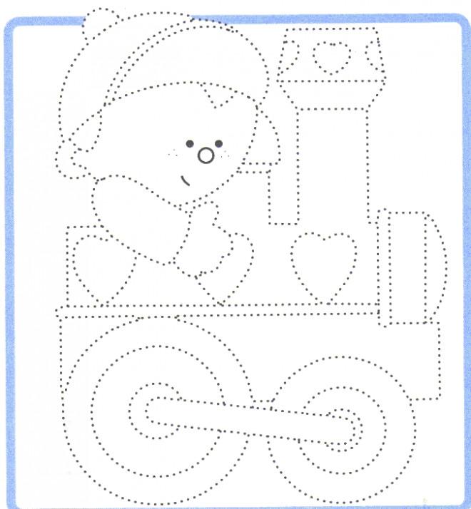 Coloriage et dessins gratuits Locomotive et petit enfant à compléter à imprimer