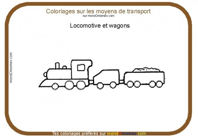 Coloriage et dessins gratuits Locomotive et Wagons en noir et blanc à imprimer