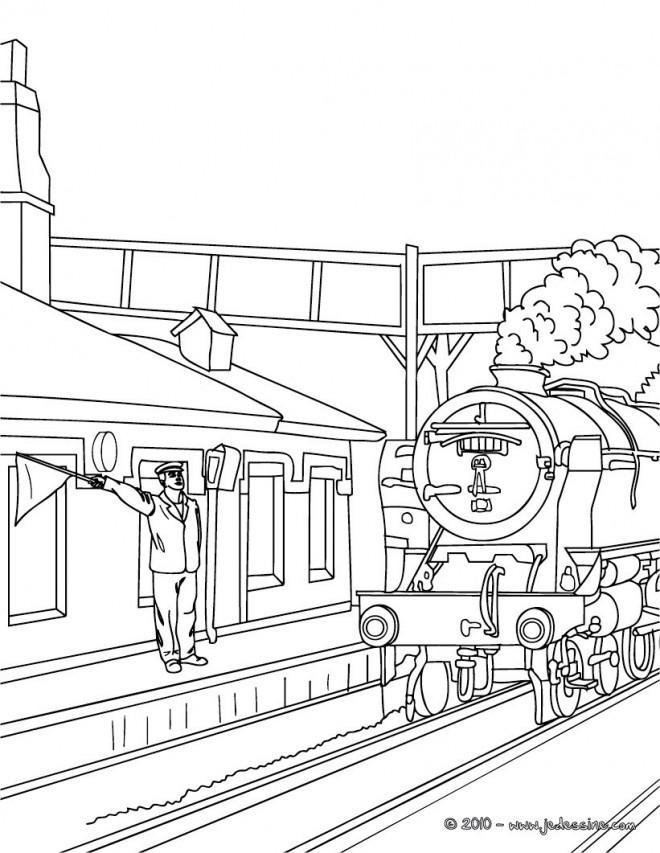 Coloriage et dessins gratuits Locomotive s'arrête en gare à imprimer