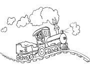 Coloriage Locomotive sur chemin de fer