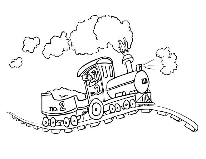 Coloriage et dessins gratuits Locomotive sur chemin de fer à imprimer