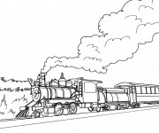 Coloriage Paysage d'un train à vapeur