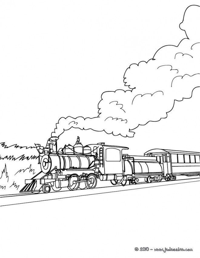 Coloriage paysage d 39 un train vapeur dessin gratuit - Coloriage train a vapeur ...
