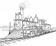 Coloriage Une Locomotive à vapeur rapide
