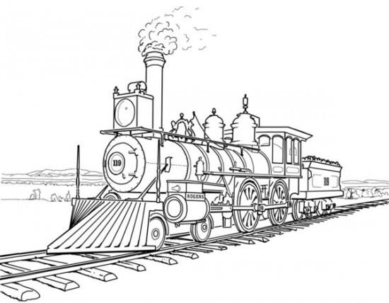Coloriage une locomotive vapeur rapide dessin gratuit - Locomotive dessin ...