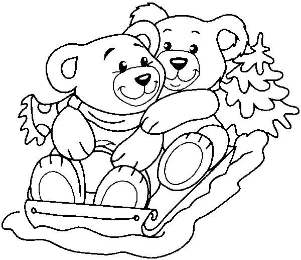 Coloriage et dessins gratuits Animaux aimables et la Luge à imprimer