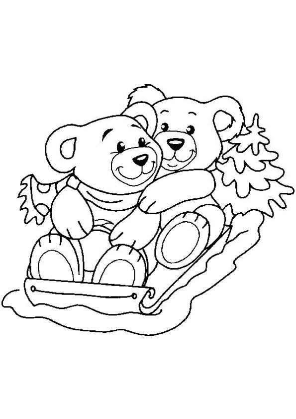 Coloriage et dessins gratuits Animaux mignons sur Luge à imprimer