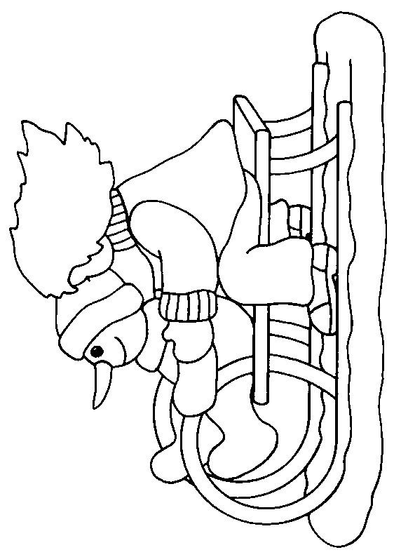 Coloriage et dessins gratuits Bonhomme de neige et Fille sur la Luge à imprimer