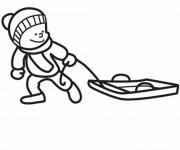 Coloriage et dessins gratuit Enfant et Luge à imprimer