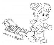 Coloriage Enfant et sa Luge