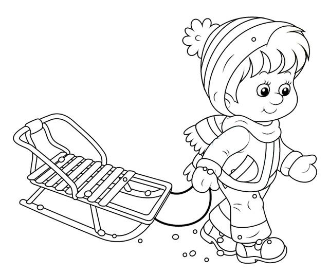 Coloriage Enfant Et Sa Luge Dessin Gratuit A Imprimer