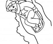 Coloriage et dessins gratuit Enfant s'amuse sur La Luge à imprimer