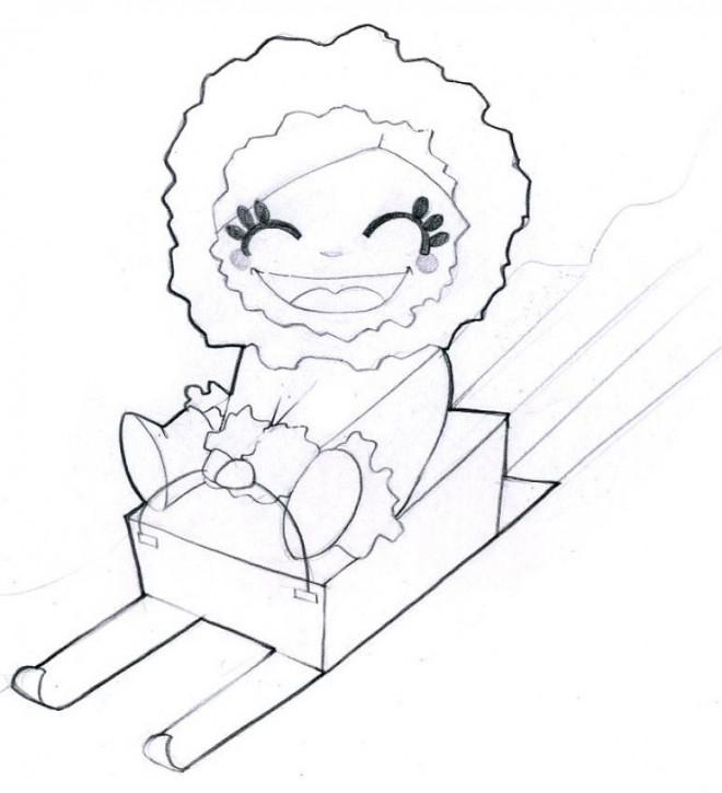 Coloriage et dessins gratuits Fille heureuse sur la Luge à imprimer