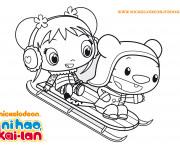 Coloriage et dessins gratuit Fille mignonne sur Luge à imprimer