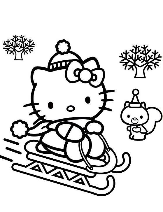 Coloriage et dessins gratuits Hello Kitty sur La Luge à imprimer