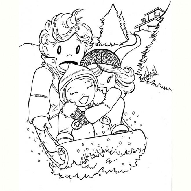 Coloriage et dessins gratuits La Famille font la Luge à imprimer