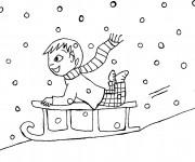 Coloriage et dessins gratuit Luge en neige à imprimer
