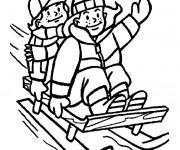 Coloriage et dessins gratuit Luge et activités d'hiver à imprimer