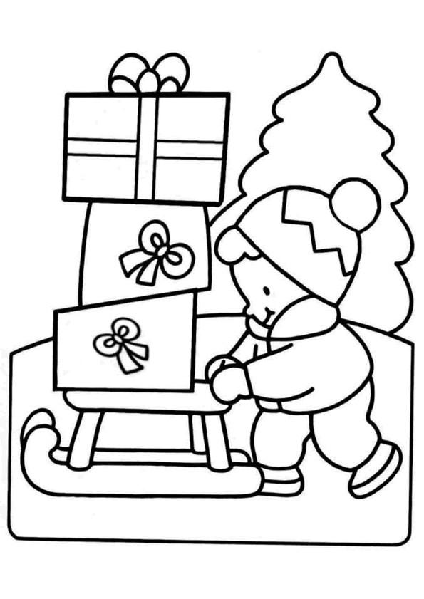 Coloriage et dessins gratuits Luge et cadeaux de Noel à imprimer