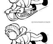 Coloriage et dessins gratuit Luge et enfant à compléter à imprimer