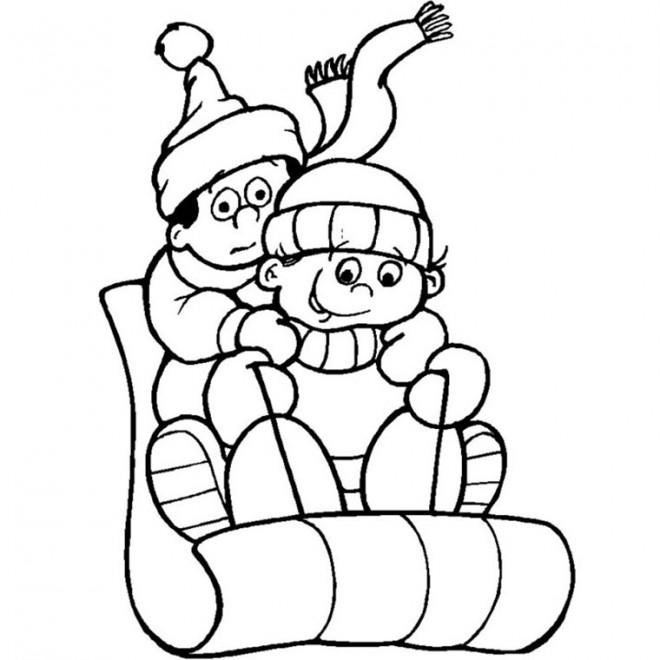 Coloriage et dessins gratuits Luge neige à imprimer
