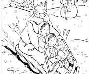 Coloriage et dessins gratuit Luge Noel à imprimer
