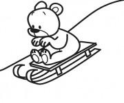 Coloriage et dessins gratuit Ourson sur La Luge à imprimer