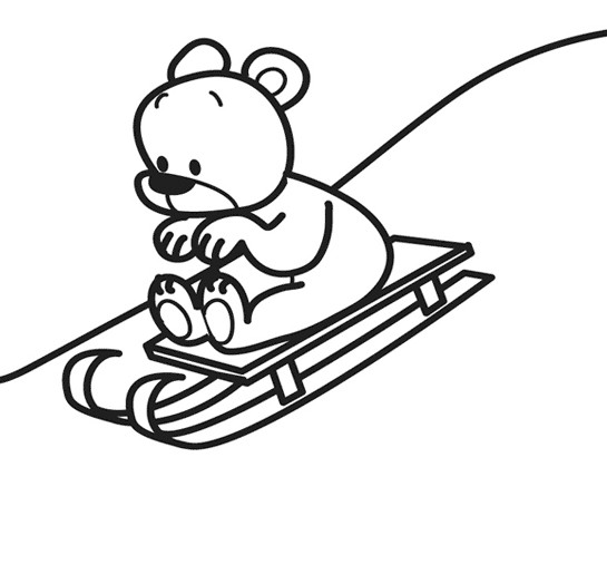 Coloriage et dessins gratuits Ourson sur La Luge à imprimer