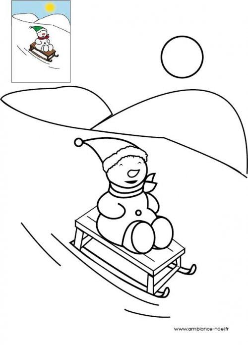 Coloriage et dessins gratuits Ous sur Luge à colorier à imprimer