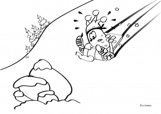 Coloriage et dessins gratuits Paysage qui fait rire de La Luge à imprimer