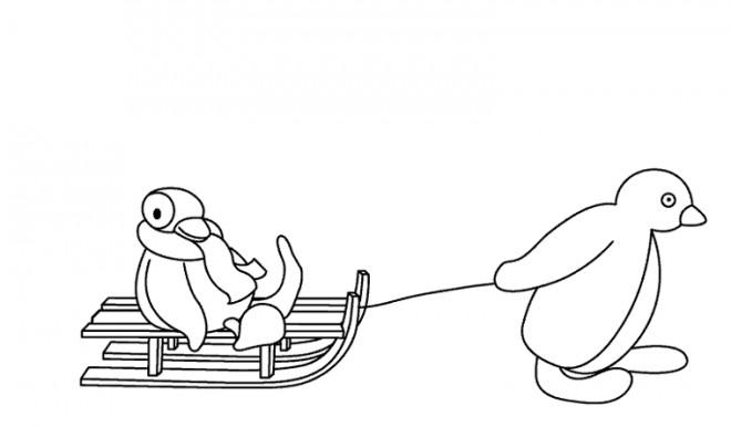 Coloriage et dessins gratuits Penguin sur La  Luge à imprimer