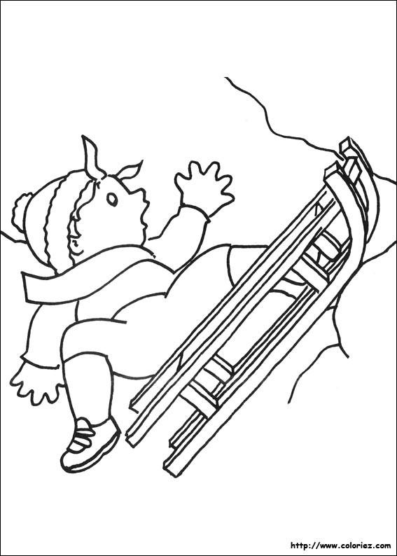 Coloriage et dessins gratuits Petit garçon sur La Luge à imprimer