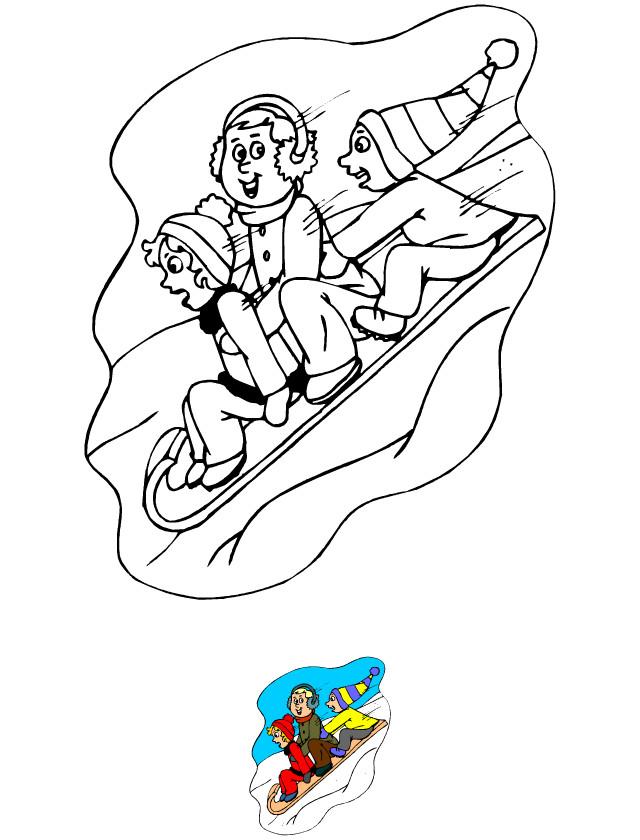 Coloriage et dessins gratuits Ski sur la Luge à imprimer
