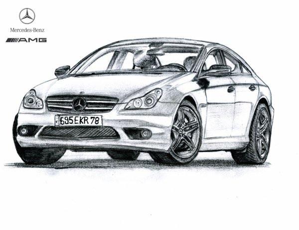 Coloriage Mercedes AMG stylisé dessin gratuit à imprimer