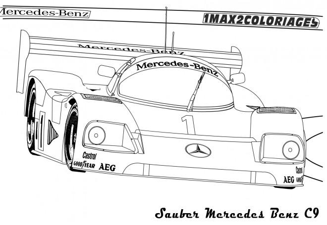 Coloriage et dessins gratuits Mercedes C9 de course à imprimer