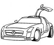 Coloriage Mercedes SLS avec portes papillon