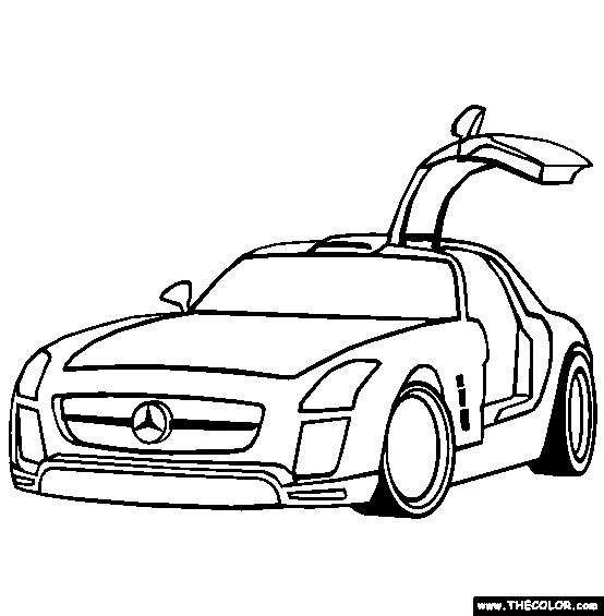 coloriage mercedes sls avec portes papillon dessin gratuit imprimer. Black Bedroom Furniture Sets. Home Design Ideas