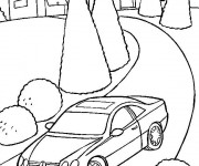 Coloriage Paysage de voiture Mercedes sur la route
