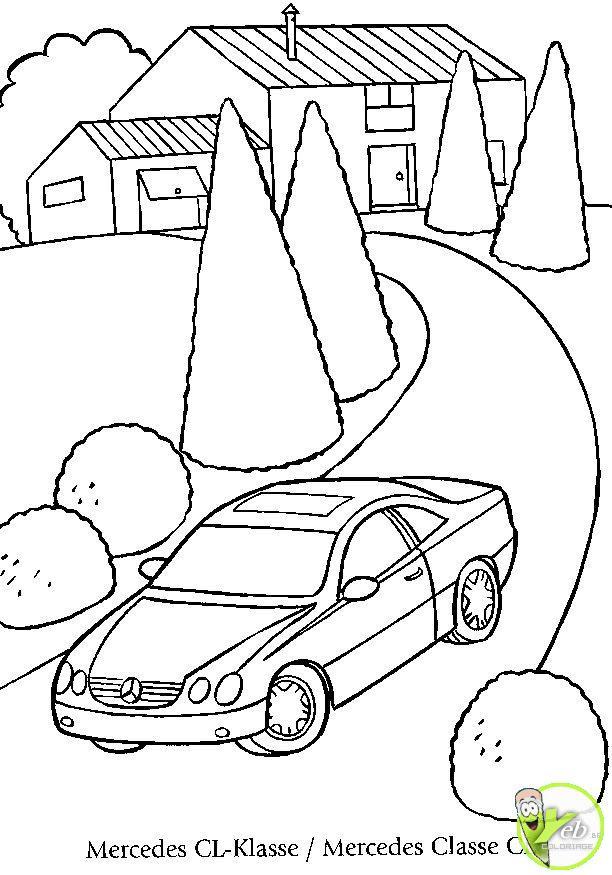 Coloriage paysage de voiture mercedes sur la route - Dessin a colorier de voiture ...