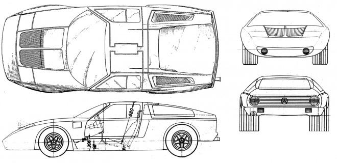 Coloriage et dessins gratuits plan technique de voiture Mercedes à imprimer