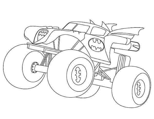 Coloriage et dessins gratuits Batman Monster Truck facile à imprimer