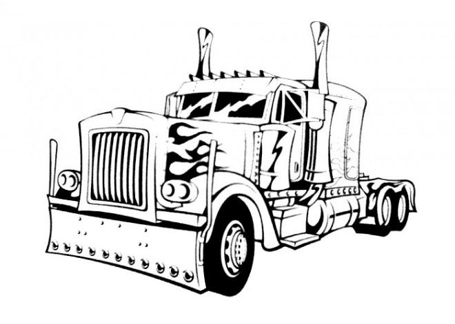 Coloriage et dessins gratuits Camion couleur noir et blanc à imprimer