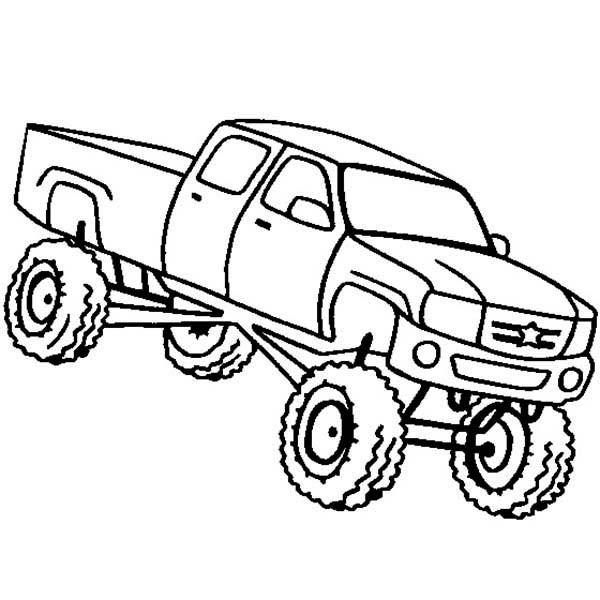 Coloriage et dessins gratuits Camionnette Monster Truck à imprimer