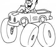 Coloriage Chauffeur de Monster Truck humoristique