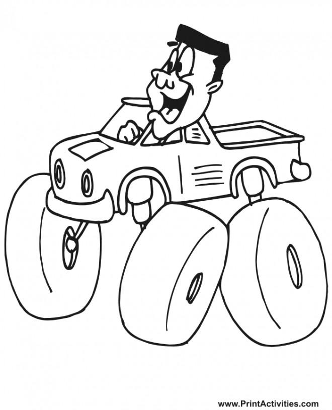 Coloriage et dessins gratuits Chauffeur de Monster Truck humoristique à imprimer