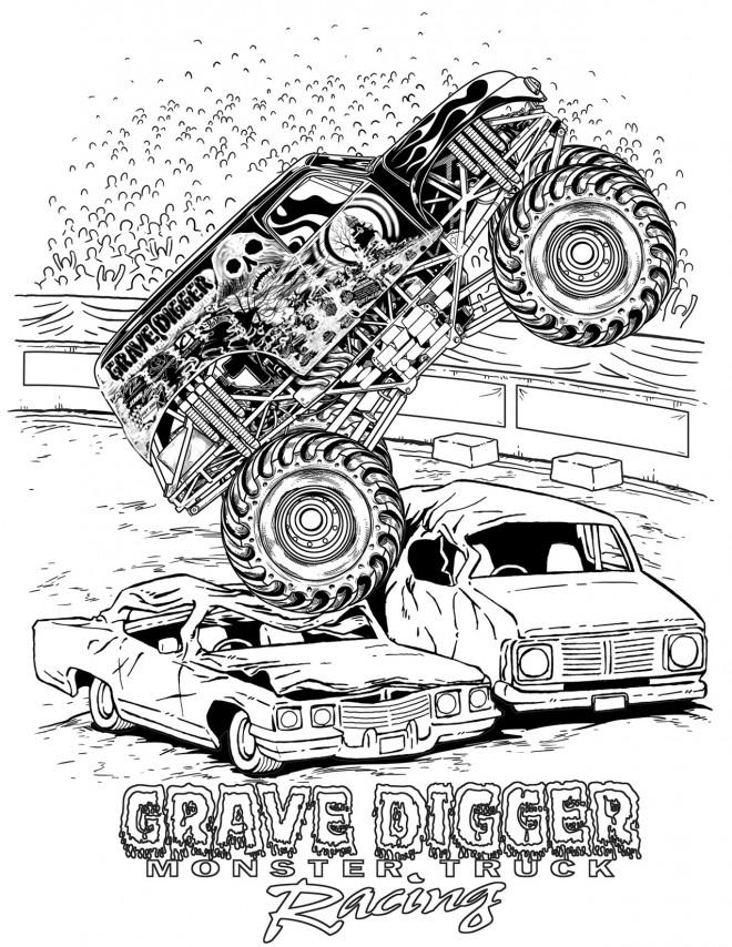 Coloriage et dessins gratuits Grave Digger Monster Jam à imprimer