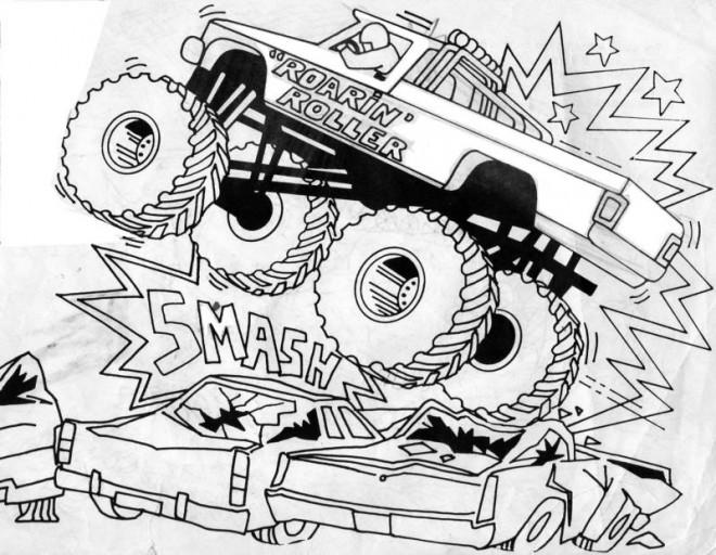 coloriage le spectacle de monster truck dessin gratuit à